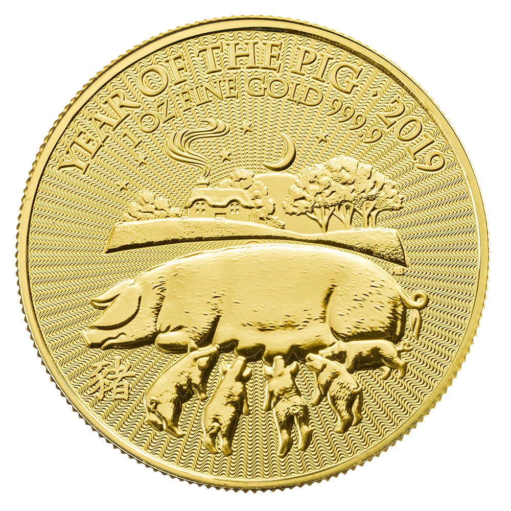 2019 Lunar 1oz ' Year of the Pig' Gold Coin (Royal Mint)