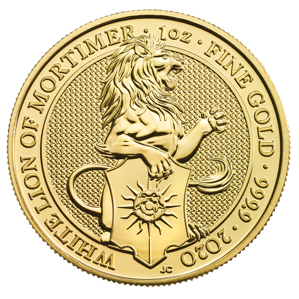 2020 1oz White Lion of Mortimer Gold Coin - Queen's Beast Collection