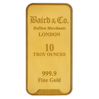 10oz Gold Bar - Baird & Co Minted Certified