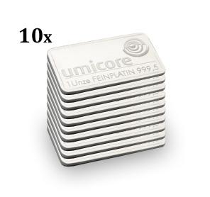10 Pack 1oz Platinum Bullion Bars Gold Bullion Co
