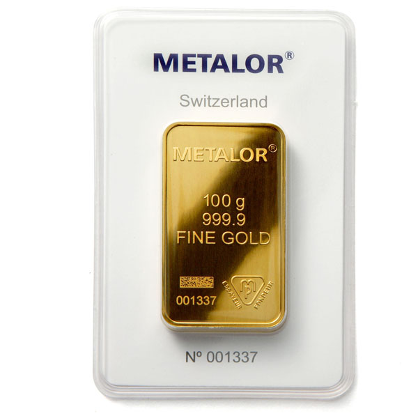 Metalor 100g Gold Bar Buy 100 Gram Gold Bullion Online