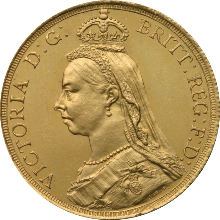 1887 Victoria Jubilee Head Two Pound Gold Coin