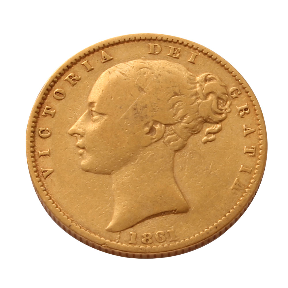 1861 Gold Sovereign (Victoria Young Head Shield)
