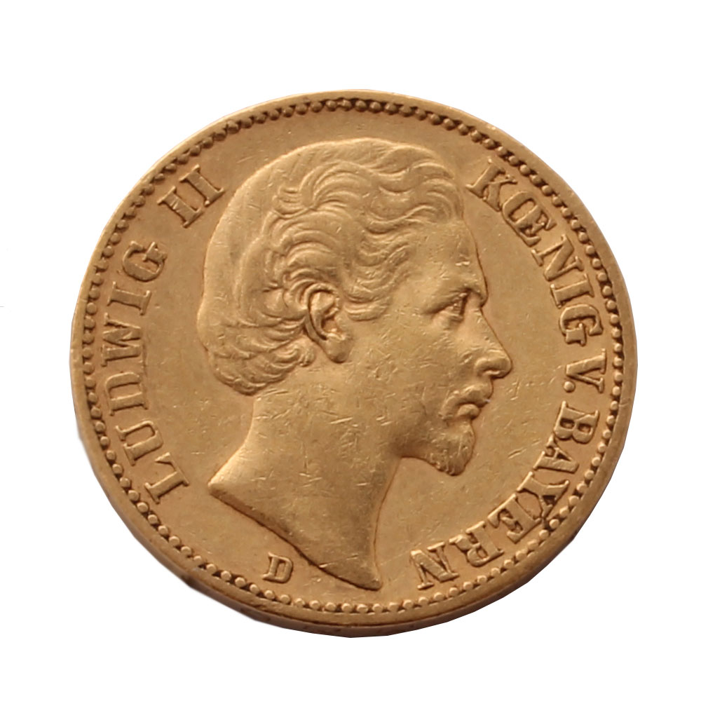 1872 Ludwig Ii 20 Mark Gold Coin Rare Coin For Coin
