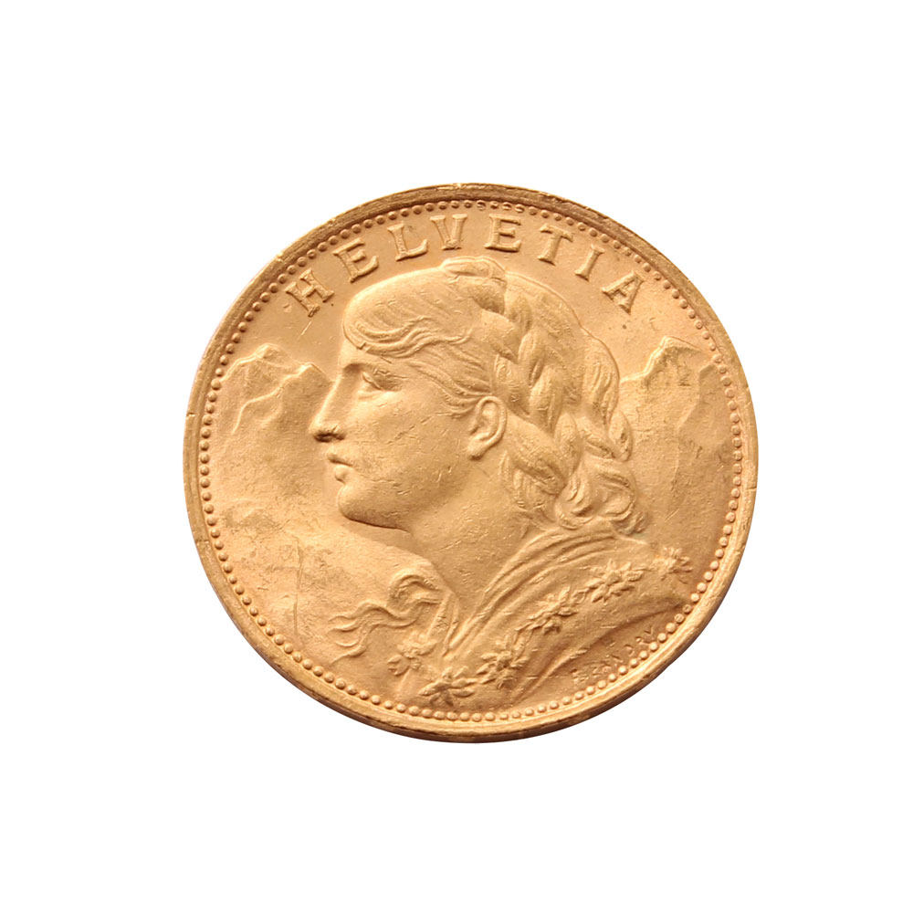 1922 Swiss 20 Franc Vreneli Gold Coin Featuring A