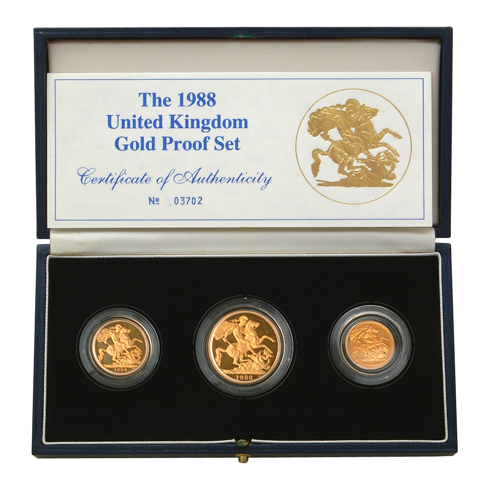 1988 Gold Proof Coin Set Three Royal Mint Gold Coins