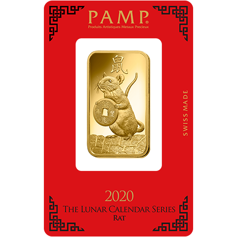 2020 1oz Gold Bar - PAMP Lunar Rat Certicard