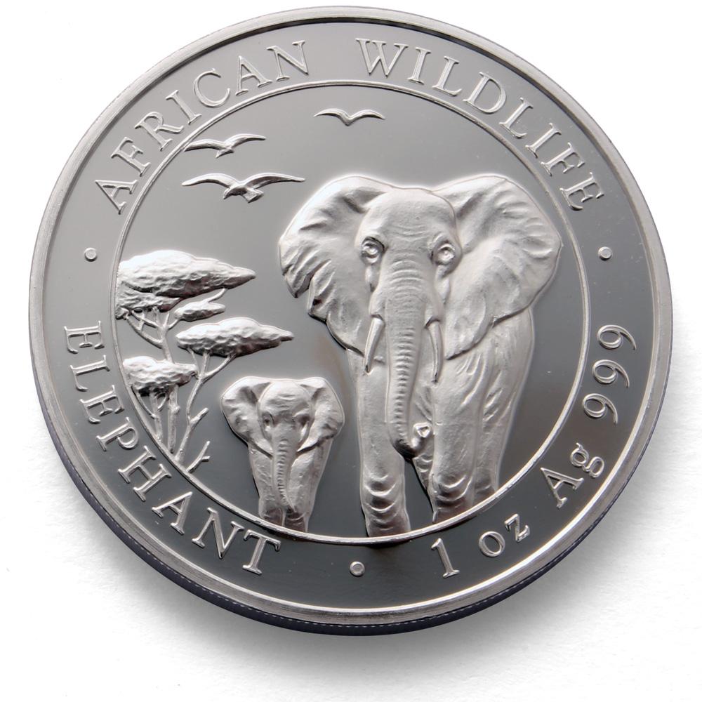Somalia Elephant 1oz Silver Coin African Wildlife Silver