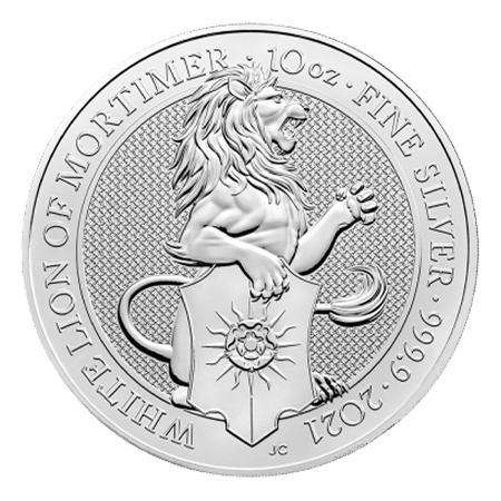 2021 10oz White Lion of Mortimer Silver Coin | Queen's Beasts Collection