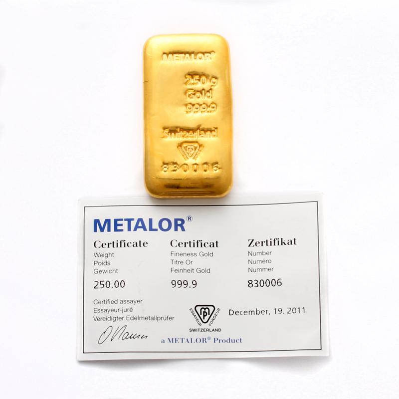Metalor 250g Gold Bar
