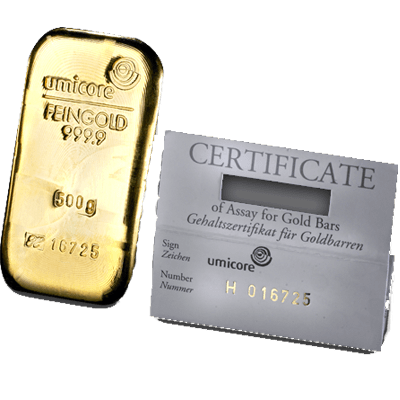 500g Gold Bar - Umicore Cast Bar