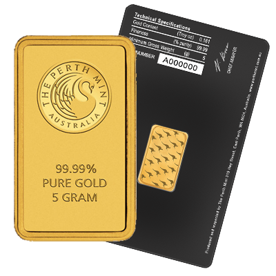 Perth Mint 5 Gram Gold Bar 5 Gram Gold Bars Gold