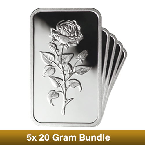 CLEARANCE - 5 x 20g Emirates Boxed Silver Bar Bundle