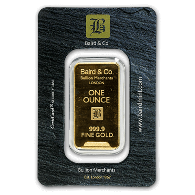 1oz Gold Bar - Baird & Co Minted Certicard