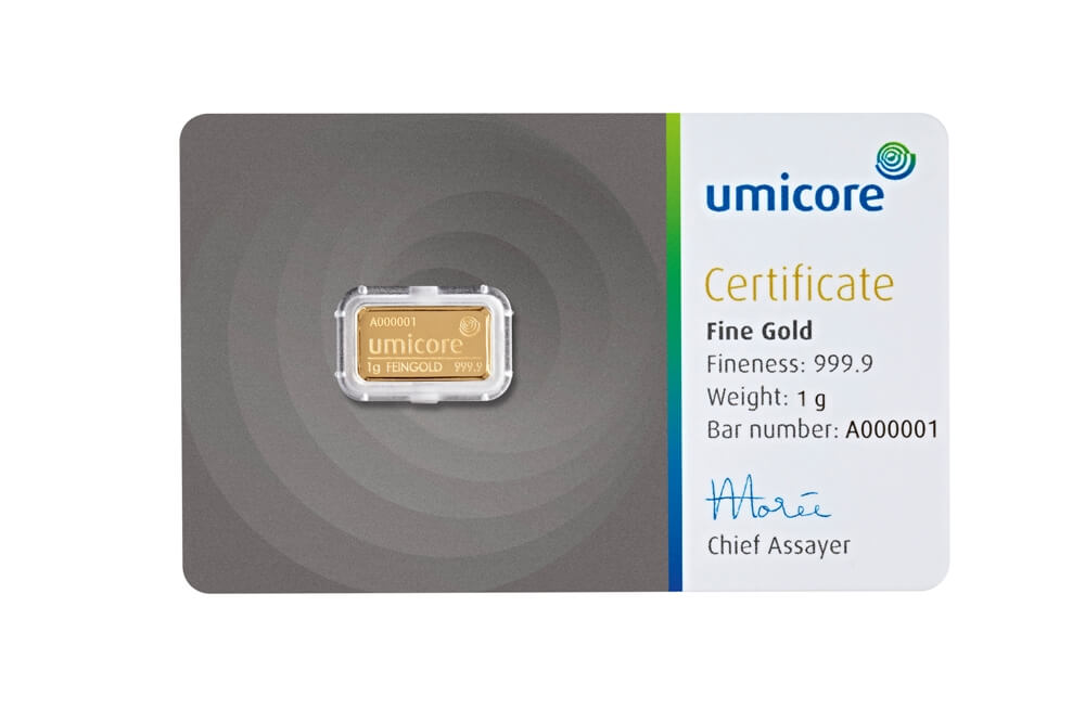1g Gold Bar - Umicore Certified