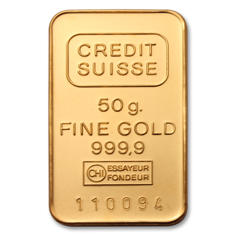 Credit Suisse 50 Gram Gold Bar 24 Carat Gold Bullion Bars