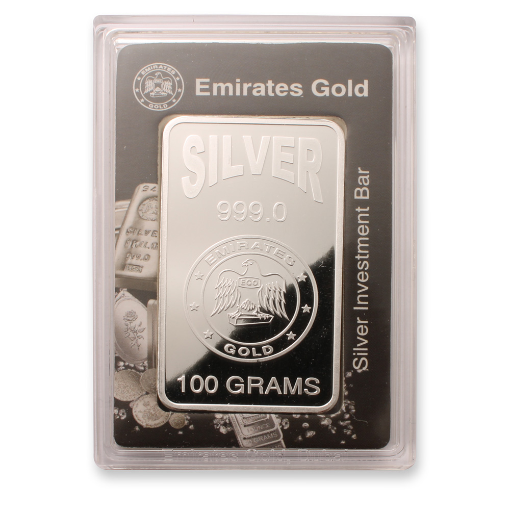 Emirates 100 gram Boxed Silver Bar