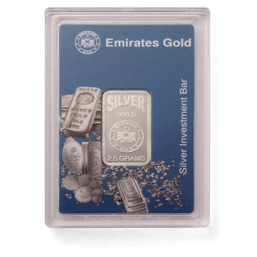 Emirates 2 5 Gram Boxed Silver Bar 999 0 Fine Silver