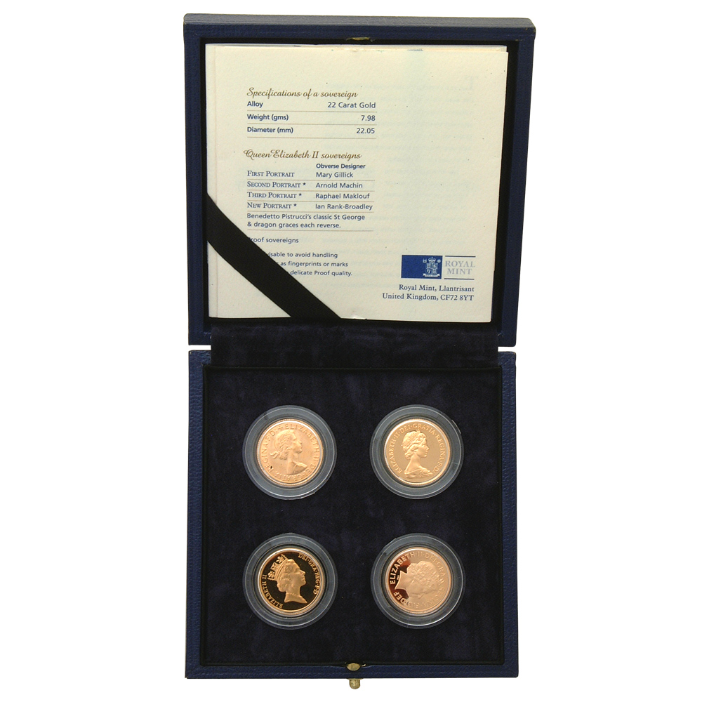 Royal Portrait Collection Four Gold Sovereign Coin Proof Set
