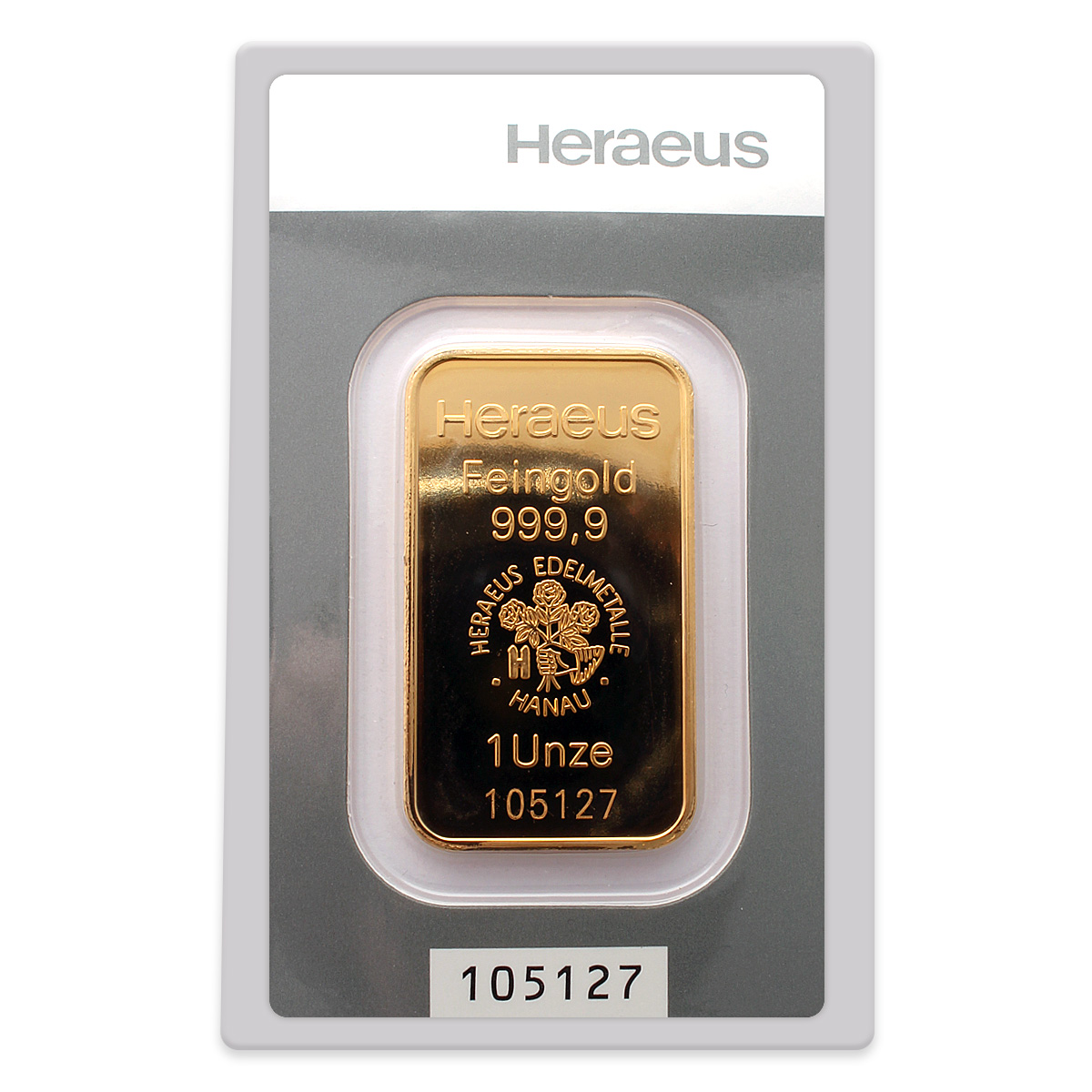 Heraeus 1oz 99 99 Fine Gold Bar Heraeus Gold Bullion Bars