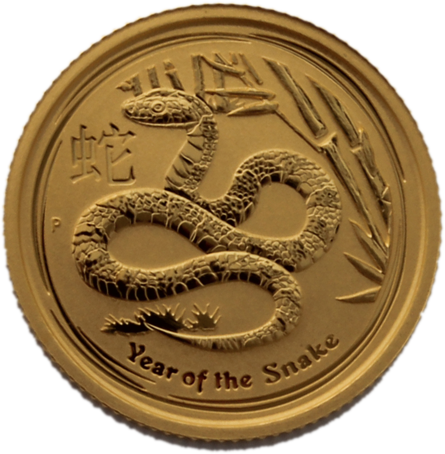 2013 1 10 Oz Year Of The Snake Gold Coin Australian Gold