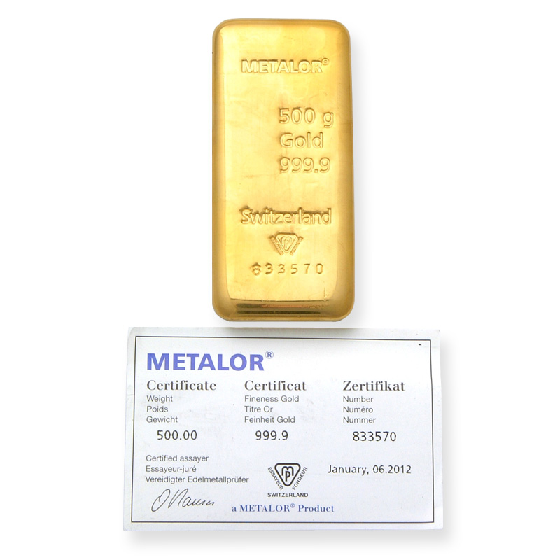Metalor 500g Gold Bar 500 Gram Gold Bullion Bar Half