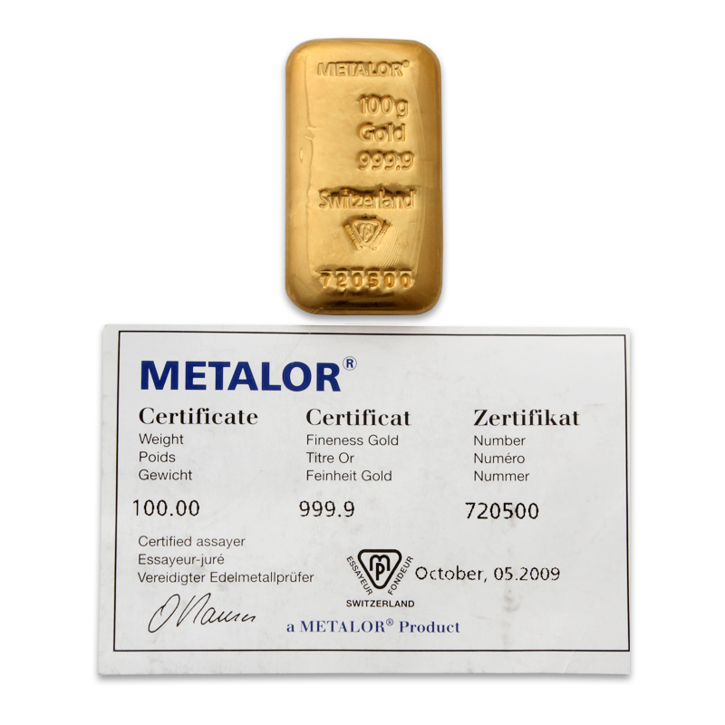 Metalor 100 Gram Cast Gold Bar With Certificate Of