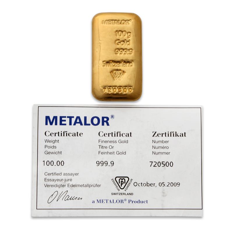 Metalor 100 Gram Cast Gold Bar With Certificate Of