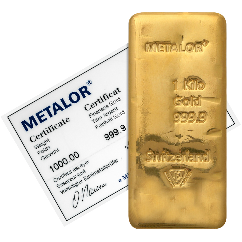 Metalor 1kg Kilogram Fine Gold Bullion Bar Gold Bullion Co