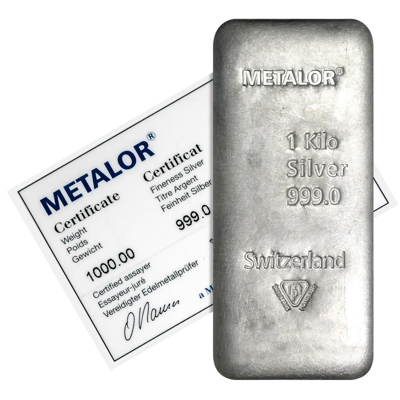 Metalor 1 Kg Silver Cast Bar 1000g Gram Silver Bullion