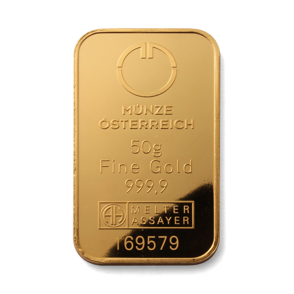 Munze Osterreich 50g Gold Bar 24 Carat 999 9 Fine Gold Bars