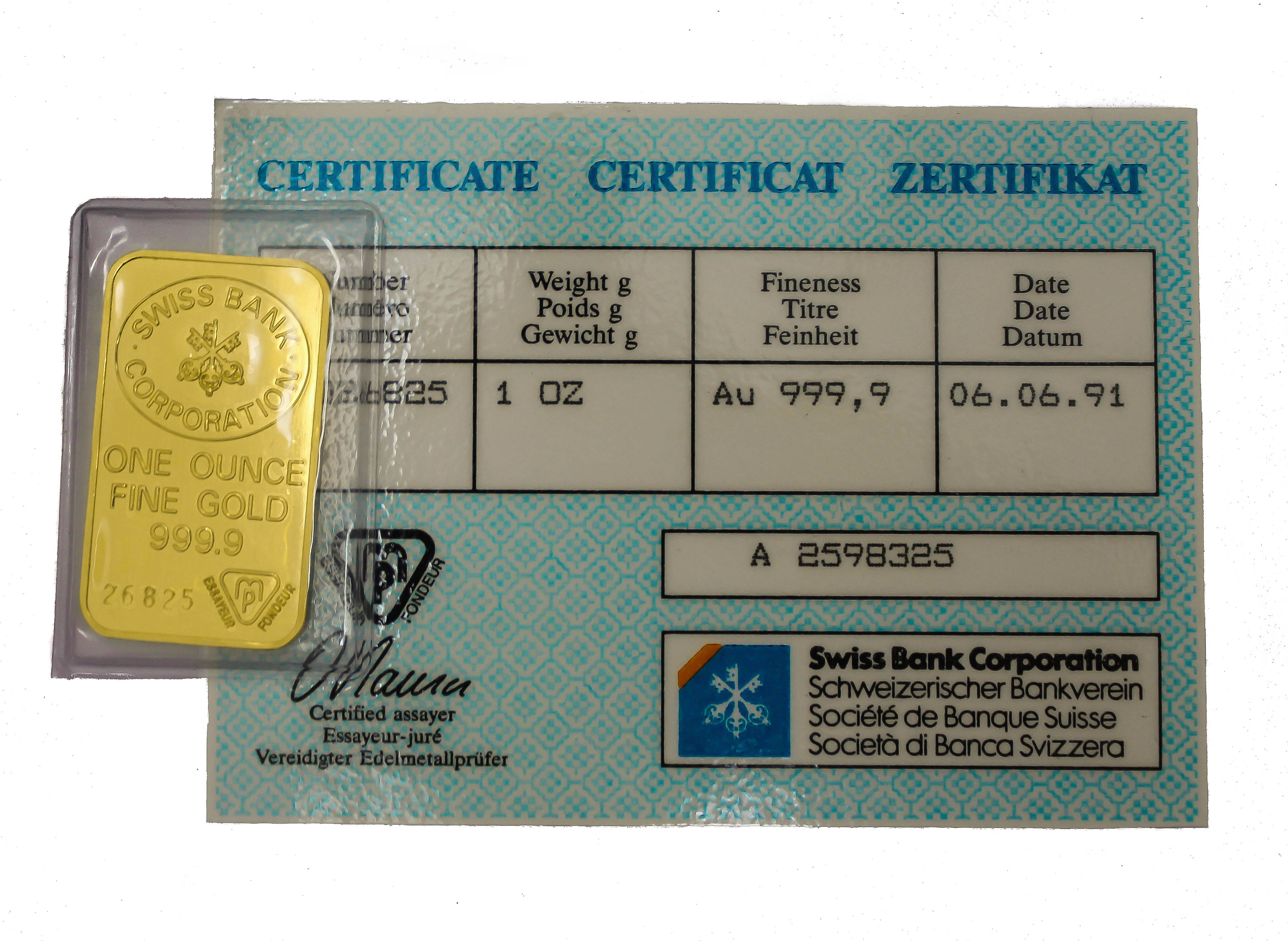 Swiss Bank Corporation 1oz Gold Bar 24 Carat Gold Bullion