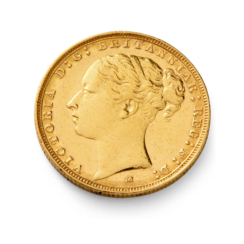 Queen Victoria Young Head With Shield Gold Half Sovereign Coin