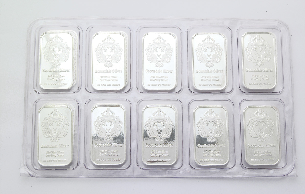 Scottsdale 1 Ounce Silver Bar 10 Pack