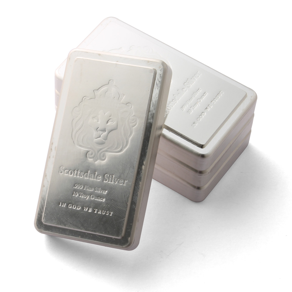 10 Oz Silver Bar Scottsdale Stacker 10 Ounce Silver Bullion
