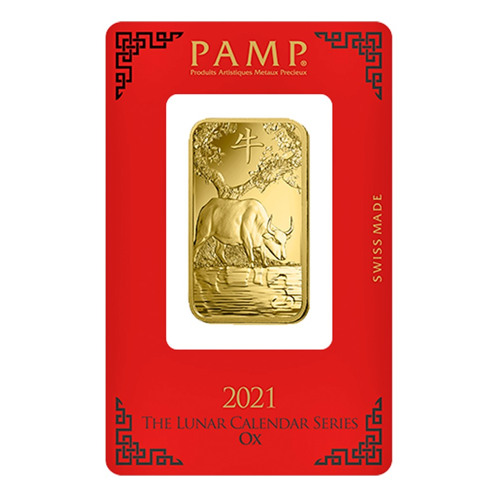 2021 1oz Gold Bar - PAMP Lunar Ox Certicard