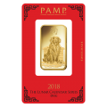 2018 1oz Gold Bar - PAMP Lunar Dog Certicard