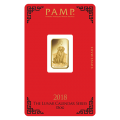 2018 PAMP 5g Lunar Dog GOLD Bar