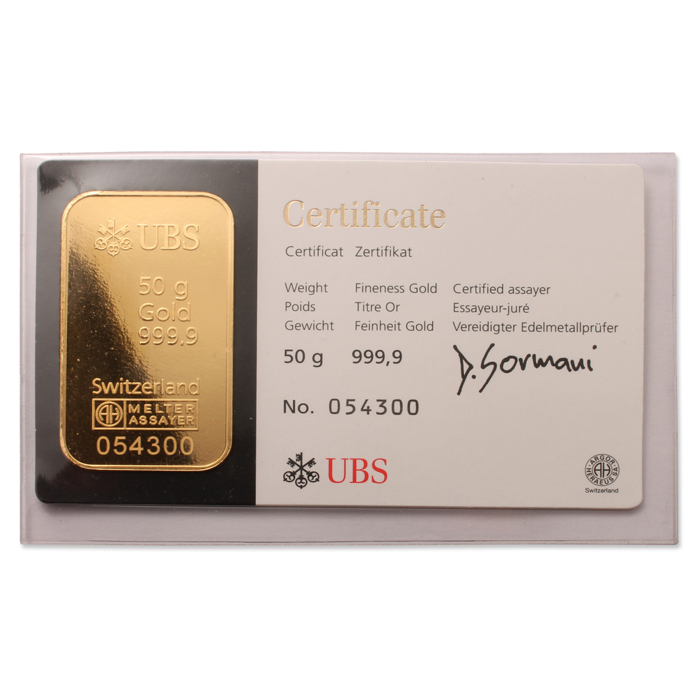 Ubs 50g Gold Bar 999 9 Swiss Bullion With A Unique
