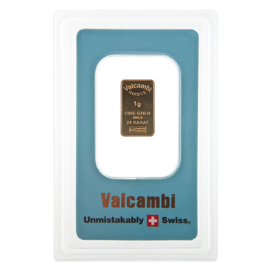 1g Gold Bar - Valcambi Blue Certified