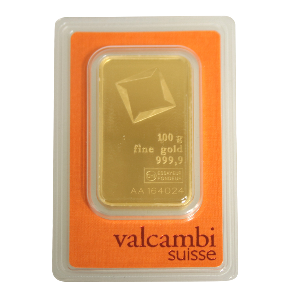 100g Gold Bar - Valcambi Certified