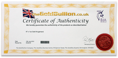 Gold bullion sales rachael edwards for Diamond certificate of authenticity template