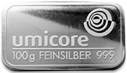 Umicore 100g Silver Bullion Bar